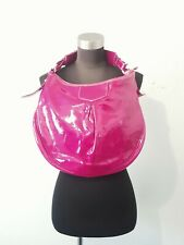 Dooney & Bourke Fushia Pink Patent Leather Pleated Hobo Purse Shoulder Bag J6917