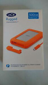 LaCie Rugged V2 500GB SSD External Drive USB 3.0 Thunderbolt 9000491 New Sealed