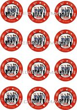 "ONE DIRECTION Edible Icing Image Cupcake Toppers 12 x 2"" Birthday Party Movie"