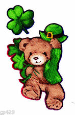 "2"" ST PATRICKS DAY TEDDY BEARS SHAMROCK CLOVER FOOT UP FABRIC APPLIQUE IRON ON"
