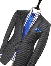 MENS VERSACE COLLECTION ITALIAN TAILOR-MADE STRIPEY BLACK SUIT 40R W34 X L32