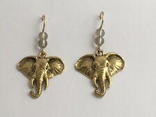 Goldtone Pewter & 14k gf large elephant head dangle earrings-elephants, trunk