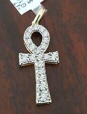 10k Yellow Gold Real Round Diamond Pendant Charm Unisex Ankh Cross Male Ladies