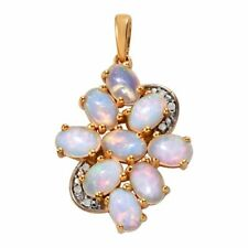 TJC Women's Opal Genuine Diamond Pendant 14ct Gold Plated Sterling Silver Gift