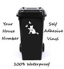 Gato número Personalizado Wheelie Bin/Caja De Reciclaje/número de casa adhesivo