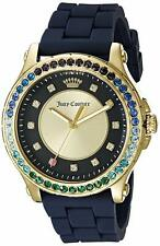 Juicy Couture 1901339 Hollywood Blue Silicone Band Gold Tone Case Watch