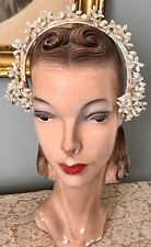 Vintage 1940's Floral Wax Headpiece Headband Hat W/ Prong Set Rhinestones