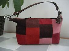 COACH Patchwork Suede Demi Bag, Mini Hobo, Red/Pink/Burgundy