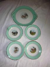 10 assiette service à dessert porcelaine vintage vert chasse gibier annee 50