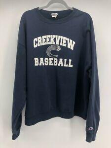 Champion Mens Sweatshirt Crew Creekview Baseball Navy White Long Sleeve XL