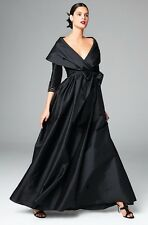 6 ADRIANNA PAPELL Black 3/4 Sleeve Taffeta Portrait Collar Wrap Gown Dress NWT