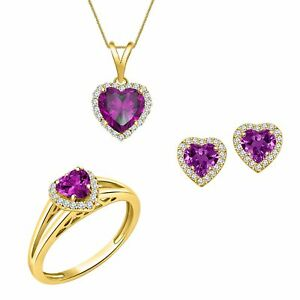 14K Yellow Gold Over Amethyst Engagement Ring Earrings Pendants Jewelry Set