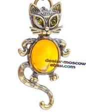 Bronze Solid Brass Baltic Amber Keychain Beauty Cat IronWork