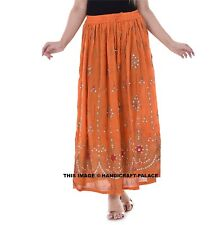 Indian Sequins Skirt Boho Belly Dance Hippie Gypsy Rayon Maxi Bollywood Skirts
