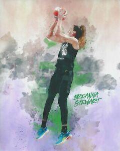 2021 BREANNA STEWART WNBA SEATTLE STORM 8x10 *WATER COLOR* PHOTOGRAPH UCONN