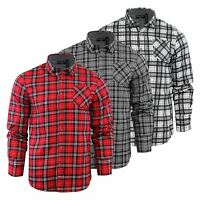Mens Check Shirt Brave Soul Tycho Flannel Brushed Cotton Long Sleeve Casual Top