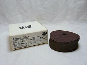 3M-855 Plain Hole Fibre Disc. Box of 25. P 60. 100 x 15mm. Unused Old Stock.