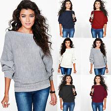 Damen Winter Sweater Pullover Pulli Strickjacke Lose Stricken Tunika Oberteil 44