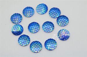 100 pcs 17.5mm Round fish scale blue AB Acrylic Beads Sew on Flat Back