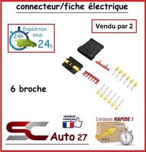connecteur de fiche électrique pour véhicule 6 branchement vendu par deux