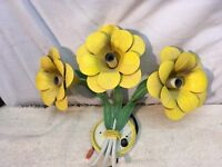 Vtg 1960-70s Hippie Mod Mid Century Tin Light Fixture Green Yellow Flower sconce