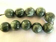 """Seraphinite, """"A"""" Grade Round 14mm Bead with Silver Flashes, x 1 bead"""