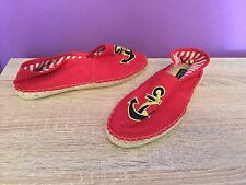Office Girl Red Canvas Slip On Pumps, Deck Shoes. UK Size 5. Straw Effect, Flats