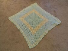 "Handmade Crocheted Baby/Infant Blanket Done in Mint Green & Ivory 40"" x 42"""