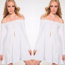 WHITE Off Shoulder BOHO Long Sleeve Flowy Knit Swing Dress Tunic NON SHEER S-L