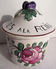 Pot à crème de pharmacie 1900, céramique peinte de roses: ROS A LA REINE signé F