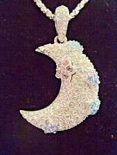 Swarovski Swan Signed Half Moon Necklace with clear crystals & Flowers Mint 497