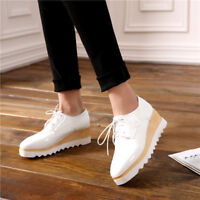 Womens Wedge High Heels Square Toe Loafers Creepers Lace Up Platform Shoes Comfy