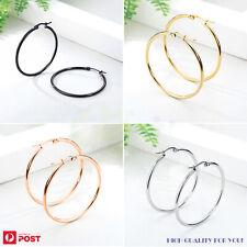 1 Pair Hoop Earrings Stainless Steel Hooped Ear Piercing Jewellery 10-80mm