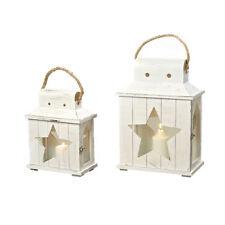 2er- Set Laterne Windlicht Metall Haus - Weiß - Gartendeko Kerze Teelicht Stern