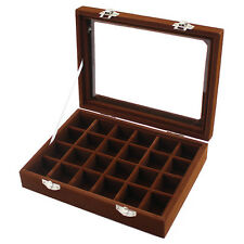 Glass Top Velvet Jewelry Display Organizer Tray Box 24 Slots Necklace Case