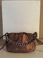 Bruce Makowsky Brown Metallic Soft Leather Crossbody Handbag Sliver Hardware