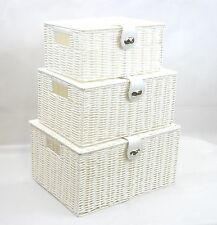 Storage Basket  White Resin Woven Hamper Box With Lid & Lock In 3 Size