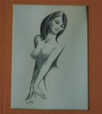 1968 Original Detailed Pencil Drawing of A Beautiful Nude Woman Signed Munro