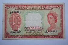 (PL) NEW SALES: 10 DOLLARS A/39 579266 QE 1953 MALAYA & BRITISH BORNEO FINE