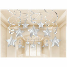 30 Silver Shooting Star Hanging Swirl - Mega Value Christmas Party Decorations