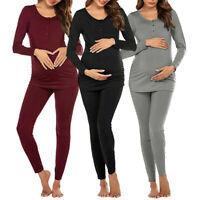 Womens Maternity Long Sleeve Nursing T-shirt Tops+Striped Pants Pajamas Set Suit