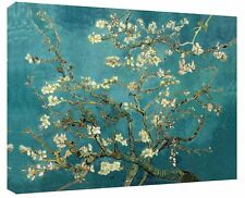 "Van Gogh Painting Almond Tree In Blossom Canvas Wall Art Duck Egg Blue 30"" x 20"""