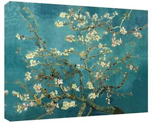 """Van Gogh Painting Almond Tree In Blossom Canvas Wall Art Duck Egg Blue 30"""" x 20"""""""