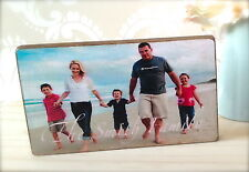 Hand Made Wooden Personalised Family Photo Block Gift Present You Choose Text