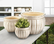Set of 3 Antique Stone Planters Indoor Outdoor Ceramic Flower Pots
