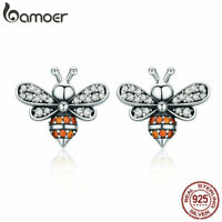 BAMOER S925 Sterling silver Stud Earrings Bee story With CZ For Women Jewelry