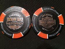 "Harley Davidson Poker Chip (Black & Orange) ""Chester's Jackson Hole"" Wyoming"