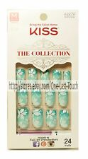 KISS* 24 Glue-On Nails GREEN GRADIENT+FLOWERS The Collection MEDIUM #62270 1a