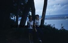 KODACHROME Red Border Slide Cute Boys Boat Bridge River Trees Fashion 1959!!!