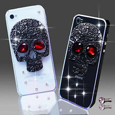 NEW BLING BLACK SKULL GOTH DIAMANTE CASE COVER IPHONE IPOD SAMSUNG SONY NOKIA